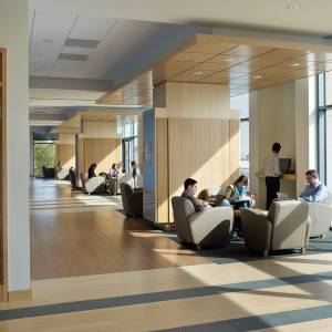 Students study, collaborate in Carey Business School lobby