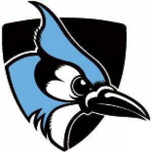 Johns Hopkins blue jay logo with shield