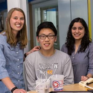 Three members of undergraduate research team