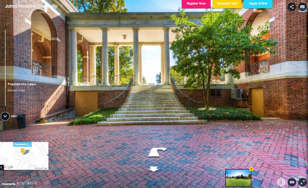 Screenshot of breezeway from interactive campus tour