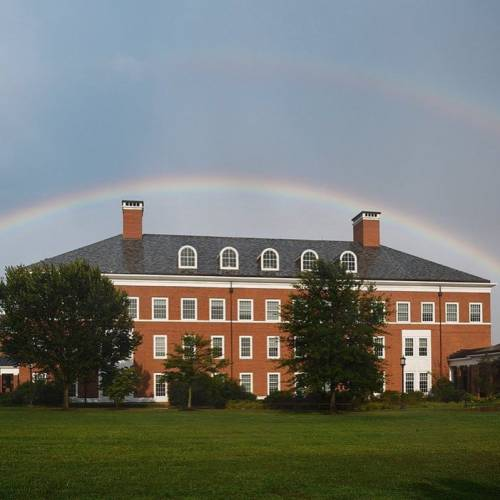 Double rainbow over Malone Hall