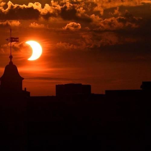 Partial eclipse at sunrise